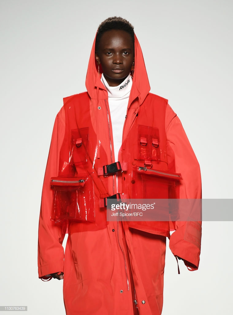 LONDON, ENGLAND - FEBRUARY 19:  A model walks the runway at the Reshake On/Off X show during London Fashion Week February 2019 at the BFC Show Space on February 19, 2019 in London, England. (Photo by Jeff Spicer/BFC/Getty Images)