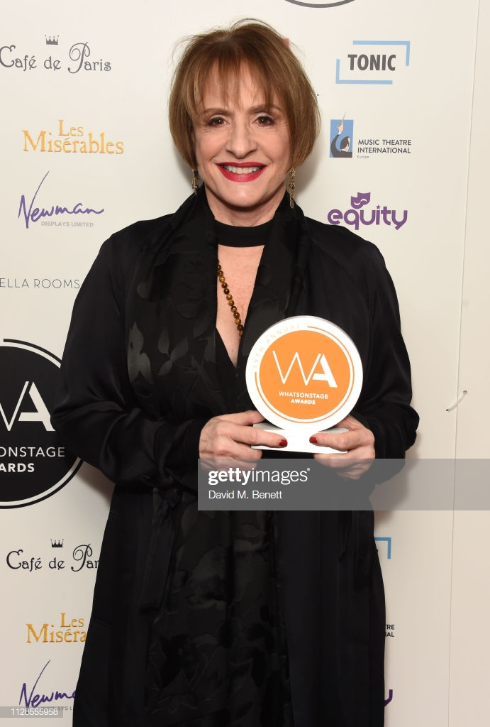 LONDON, ENGLAND - MARCH 03:  Patti LuPone poses in the Winners Room at The WhatsOnStage Awards 2019 at The Prince of Wales Theatre on March 3, 2019 in London, England.  (Photo by David M. Benett/Dave Benett/Getty Images)