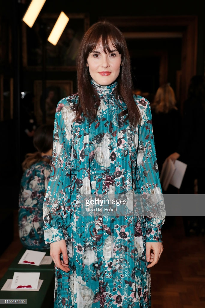 LONDON, ENGLAND - FEBRUARY 18: Michelle Dockery attends the Erdem show during London Fashion Week February 2019 at National Portrait Gallery on February 18, 2019 in London, England. (Photo by David M. Benett/Dave Benett/Getty Images)