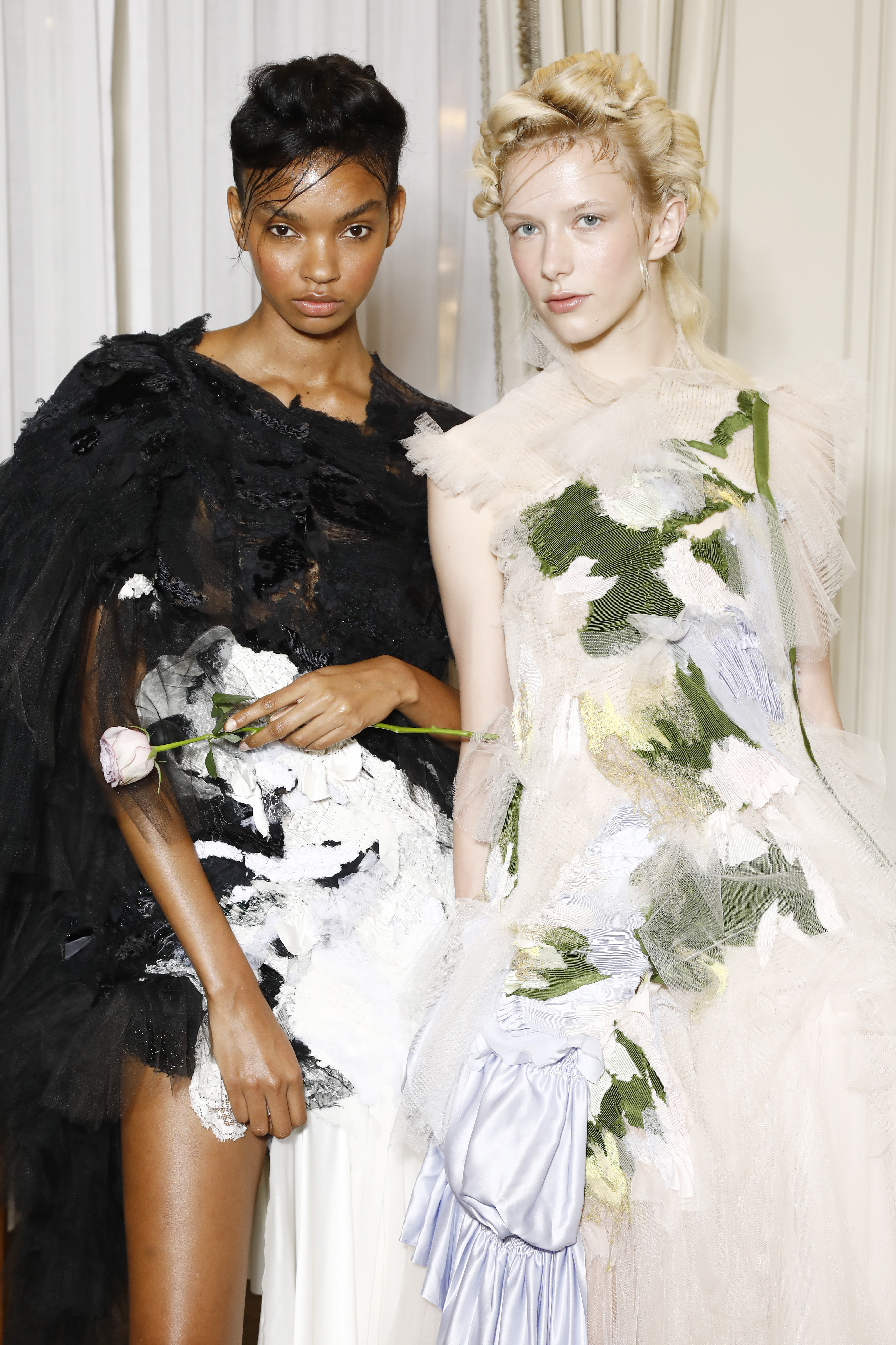 PARIS, FRANCE - JULY 03: Models are seen at the  intimate presentation and cocktail in celebration of BoF China Prize 2018 winner Caroline Hu on July 3, 2019 at Hôtel Ritz in Paris, France.. (Photo by Julien M. Hekimian/Getty Images for The Business of Fashion)
